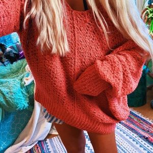 Lux Beachy Raw Edge Oversized Chunky Sweater ✨
